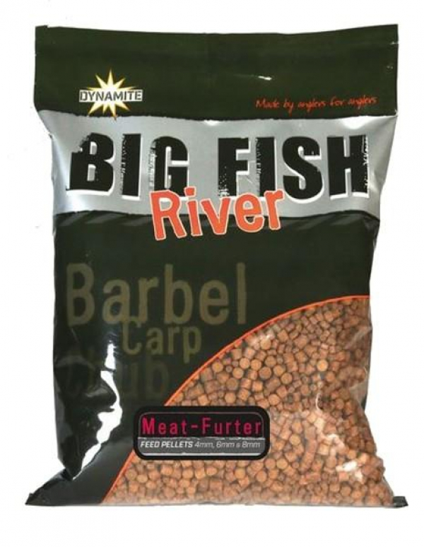 Pelety Dynamite Baits Pellets Big Fish River Meat & Furter 4/6/8mm - 1,8kg